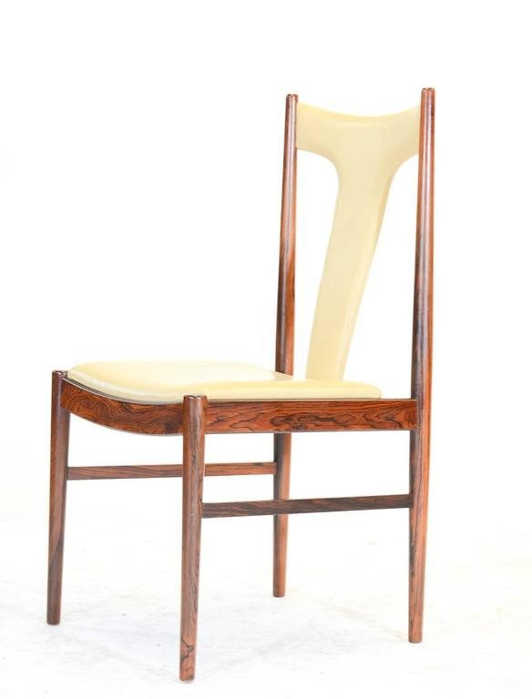 Six Rosewood Dining Chairs in Leather by Arne Vodder - 5