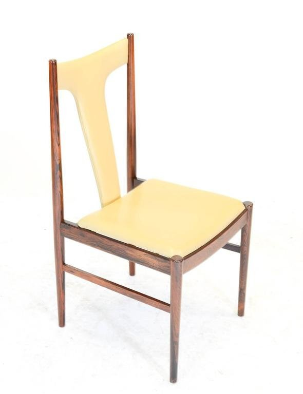 Six Rosewood Dining Chairs in Leather by Arne Vodder - 7