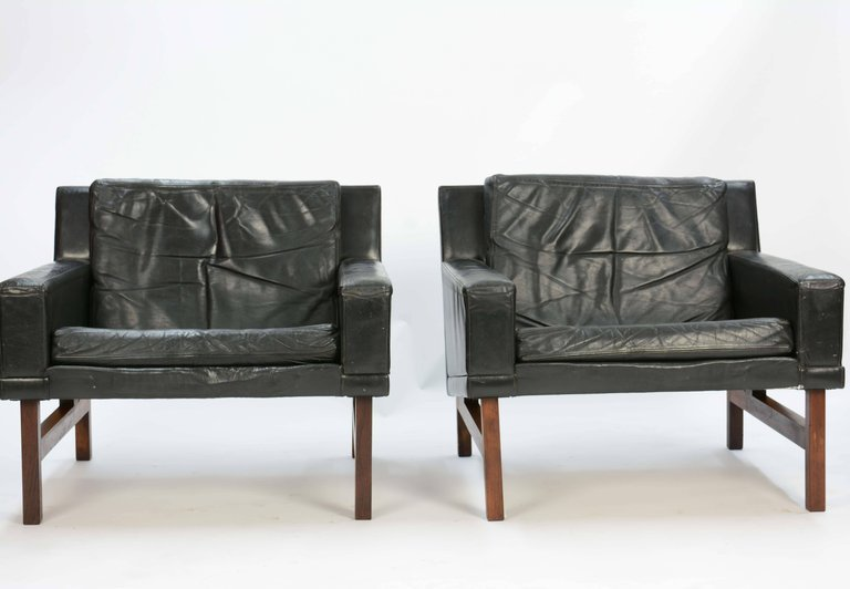 Rolschau Mobler Leather Club Chairs with Rosewood - 2