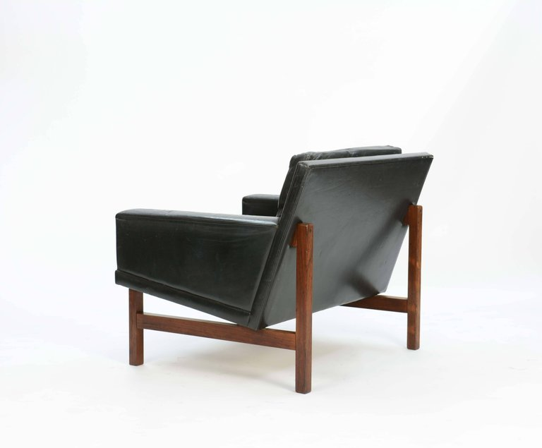 Rolschau Mobler Leather Club Chairs with Rosewood - 5