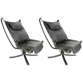 A Pair of Black Falcon Chairs by Sigurd Resell