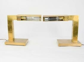 A Pair of Chapman Modernist Brass Desk Lamps - 2