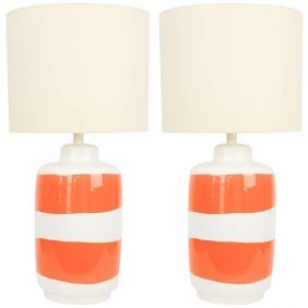 "Pair of Grand ""Pop Art"" Orange and White Table Lamps"