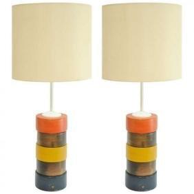 Grand Pair of Tricolor Bohemian Folk Art Table Lamps