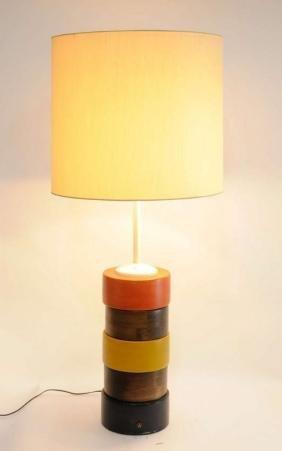 Grand Pair of Tricolor Bohemian Folk Art Table Lamps - 3