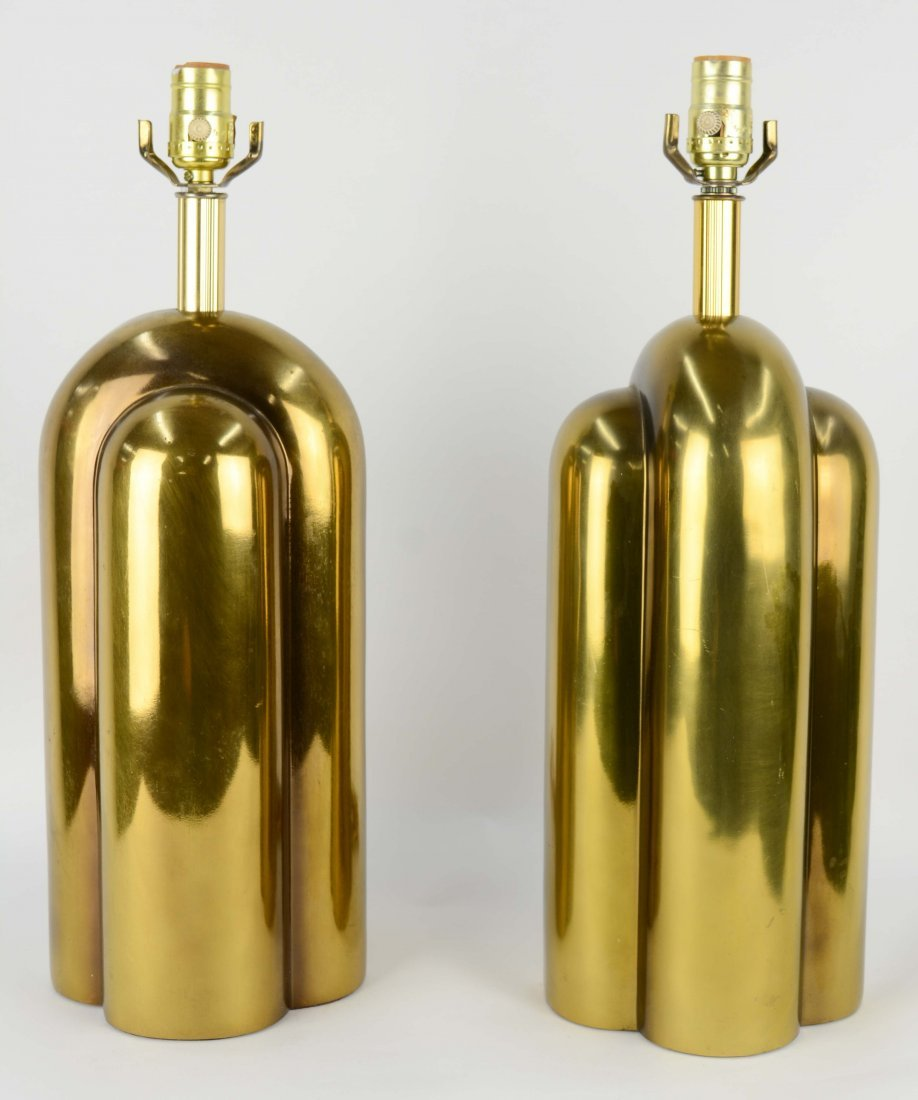 Monumental Brass Table Lamps After Pierre Cardin