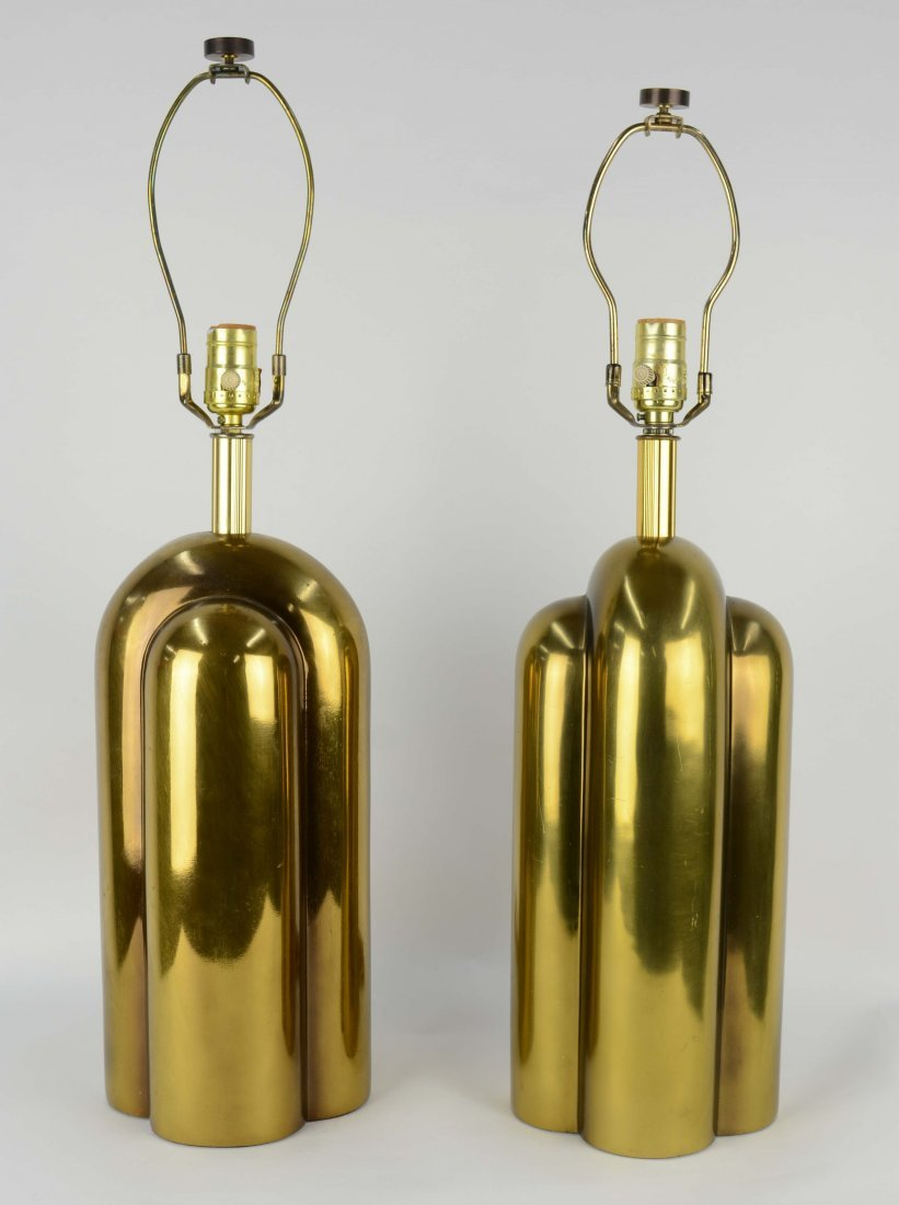 Monumental Brass Table Lamps After Pierre Cardin - 2