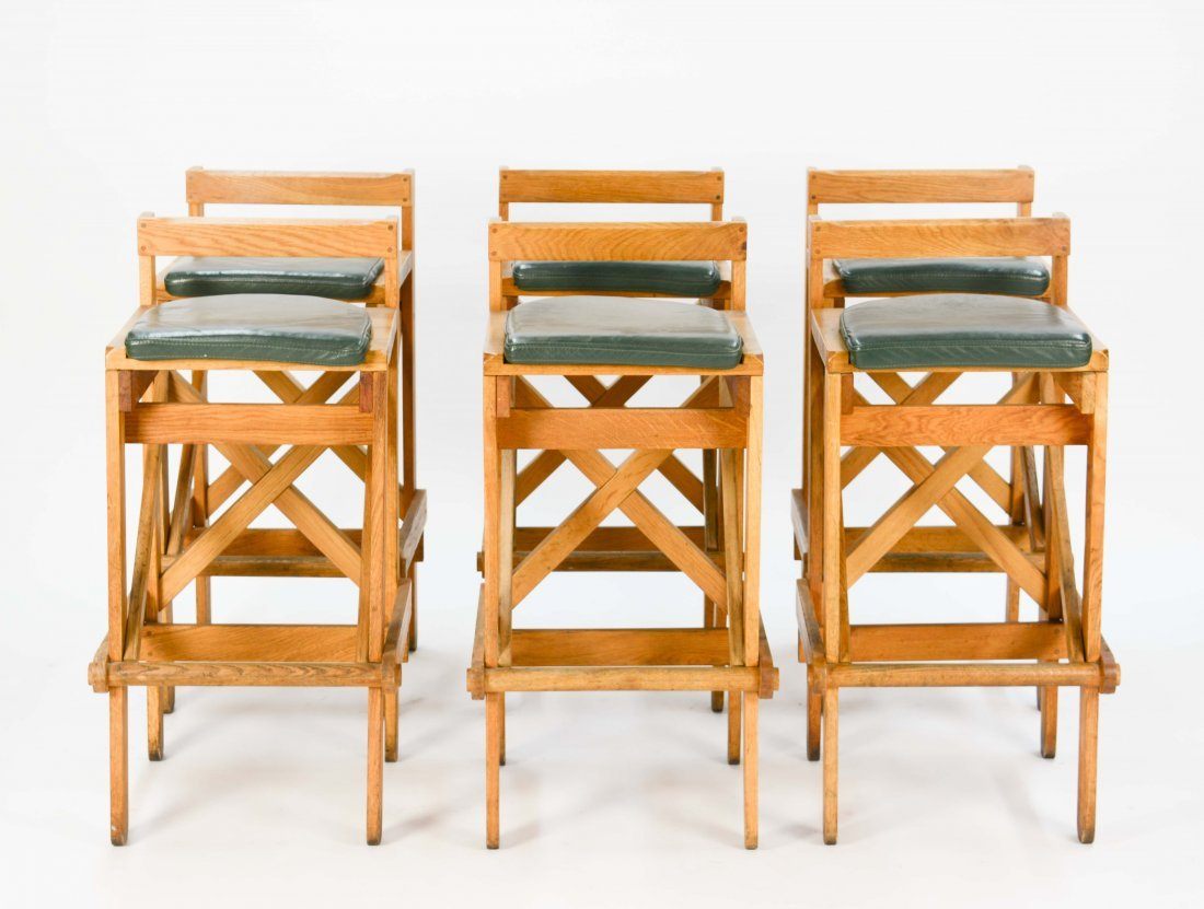 Set of Danish Rustic Modern Bar Stools with Green Seats