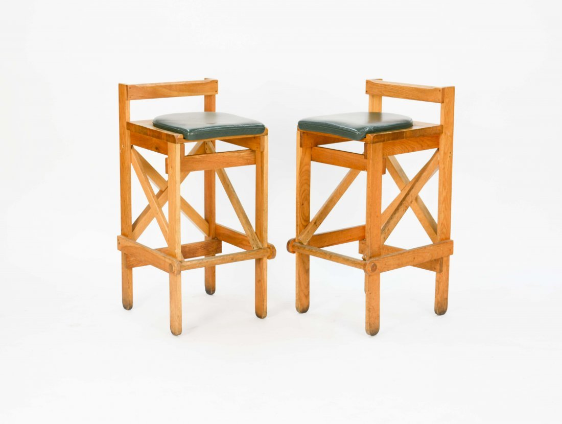 Set of Danish Rustic Modern Bar Stools with Green Seats - 3