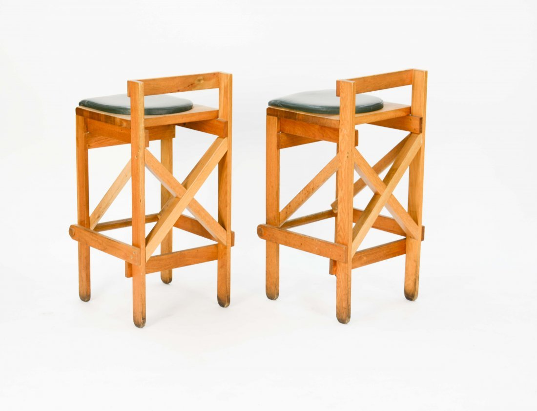 Set of Danish Rustic Modern Bar Stools with Green Seats - 5