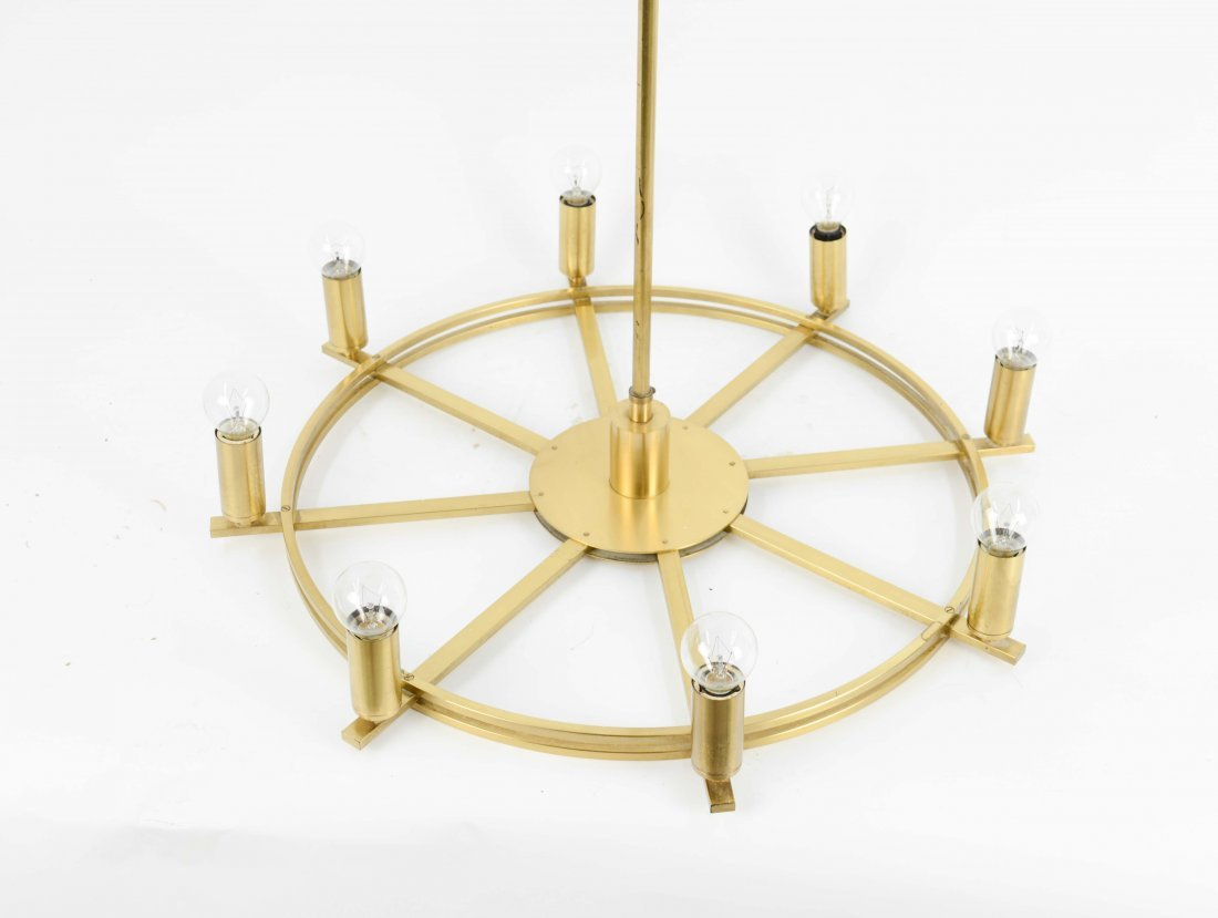 Modernist Danish Brass Chandelier
