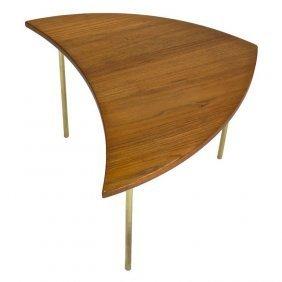Sleek Danish Arrow Table with Brass Legs