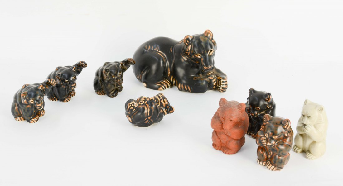 Set of 9 Knud Kyhn Bears for Royal Copenhagen.