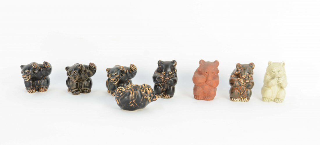 Set of 9 Knud Kyhn Bears for Royal Copenhagen. - 2