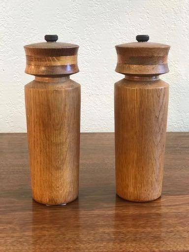 A Set of Oak Danish Pepper Mills with Fine Detailing