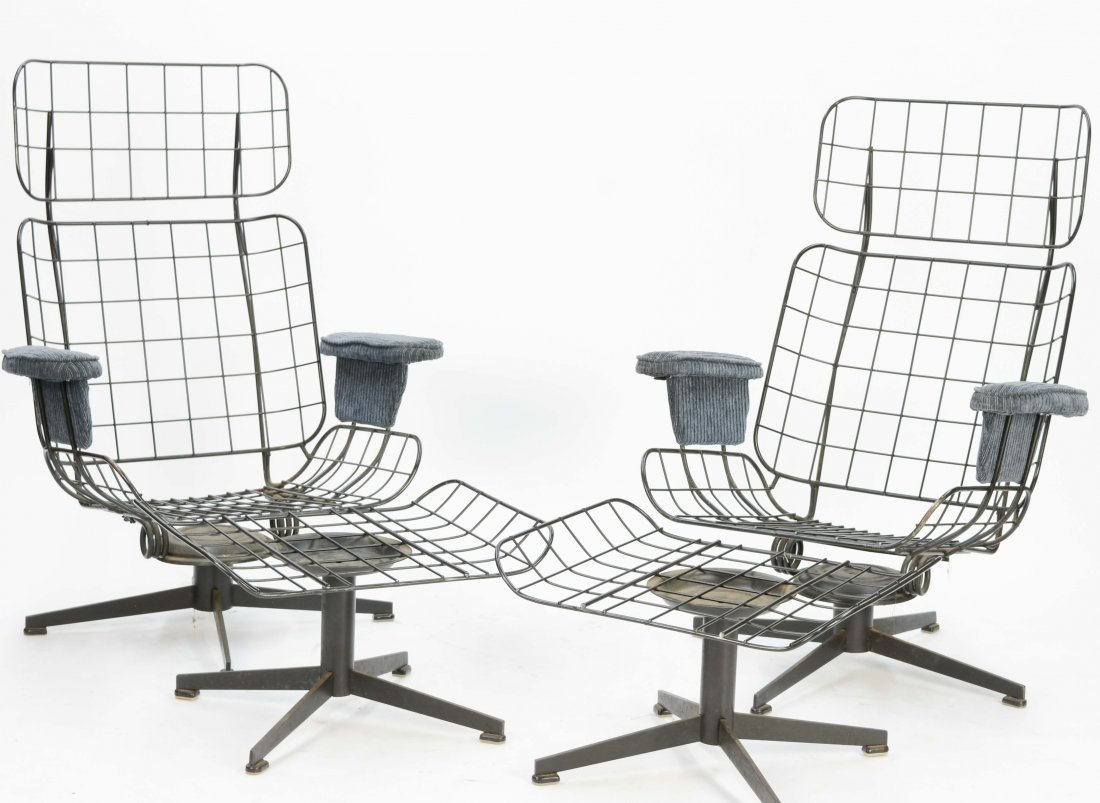 A Pair Of Homecrest Club Chairs and Ottomans