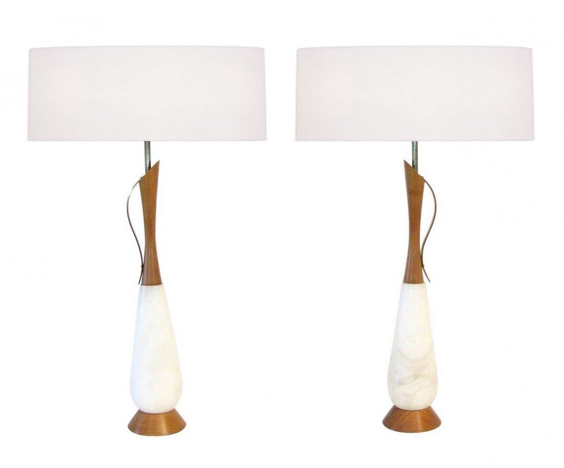 Pair of Italian Teak and Alabaster Lamps
