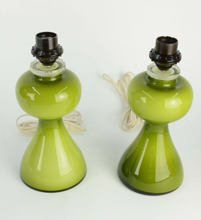 Pair of Green Glass Lamps Per-Olof Strom for Alsterfors - 4