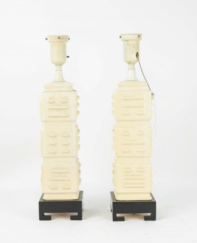 1950's Almo Pottery Table Lamps with Lacquered Bases