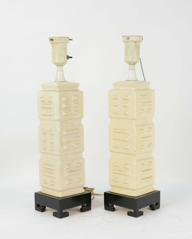 1950's Almo Pottery Table Lamps with Lacquered Bases - 2