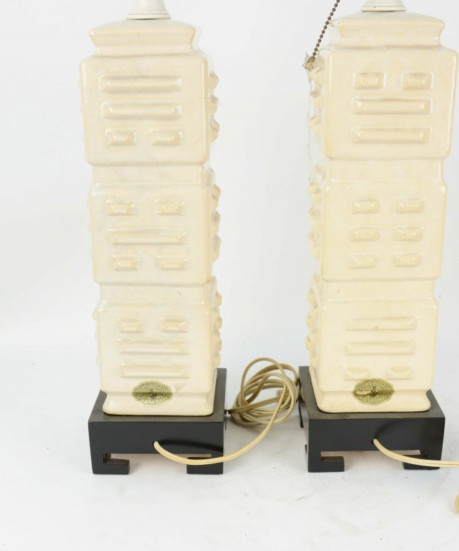 1950's Almo Pottery Table Lamps with Lacquered Bases - 3