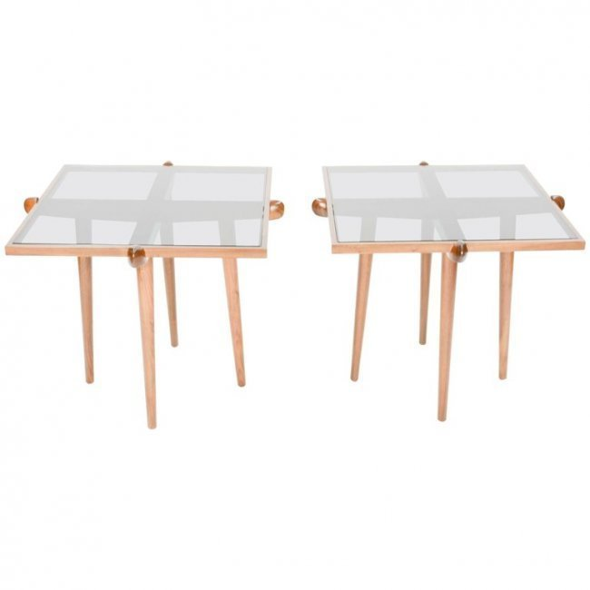 Italian Walnut Side Tables Inspired by Gio Ponti