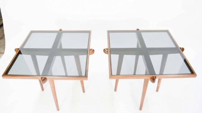 Italian Walnut Side Tables Inspired by Gio Ponti - 2
