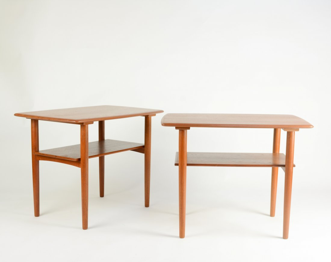 Danish Teak Thin Edge Side Tables After Peter Hvidt