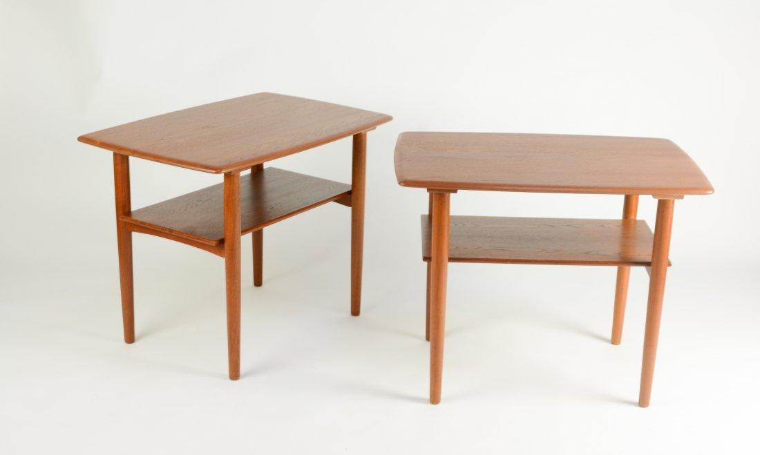 Danish Teak Thin Edge Side Tables After Peter Hvidt - 2