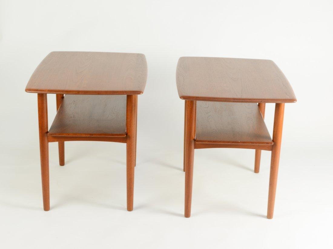 Danish Teak Thin Edge Side Tables After Peter Hvidt - 3
