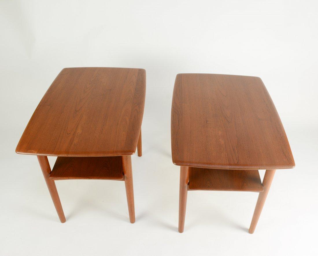 Danish Teak Thin Edge Side Tables After Peter Hvidt - 4
