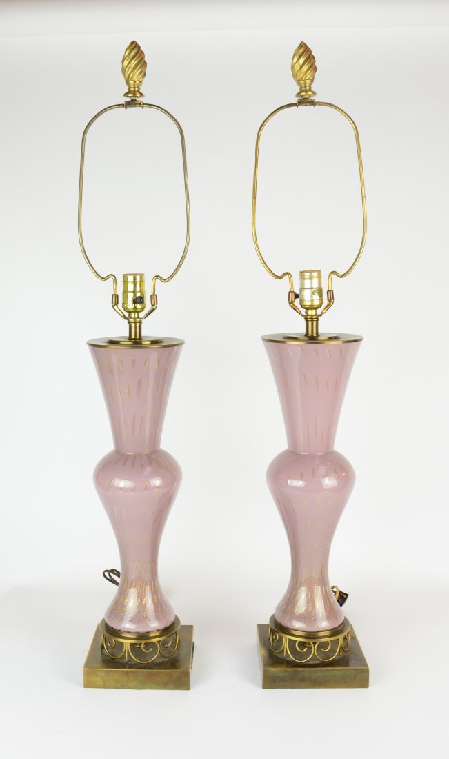 A Pair of Pink Venetian Murano Glass Table Lamps