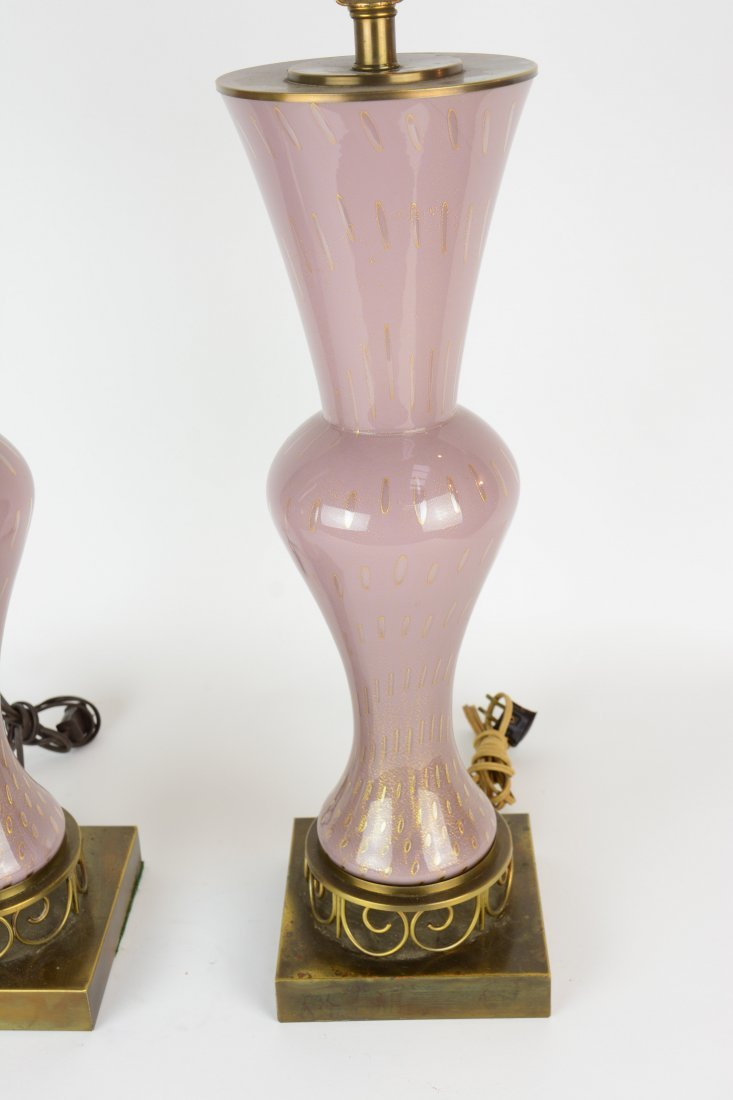 A Pair of Pink Venetian Murano Glass Table Lamps - 2
