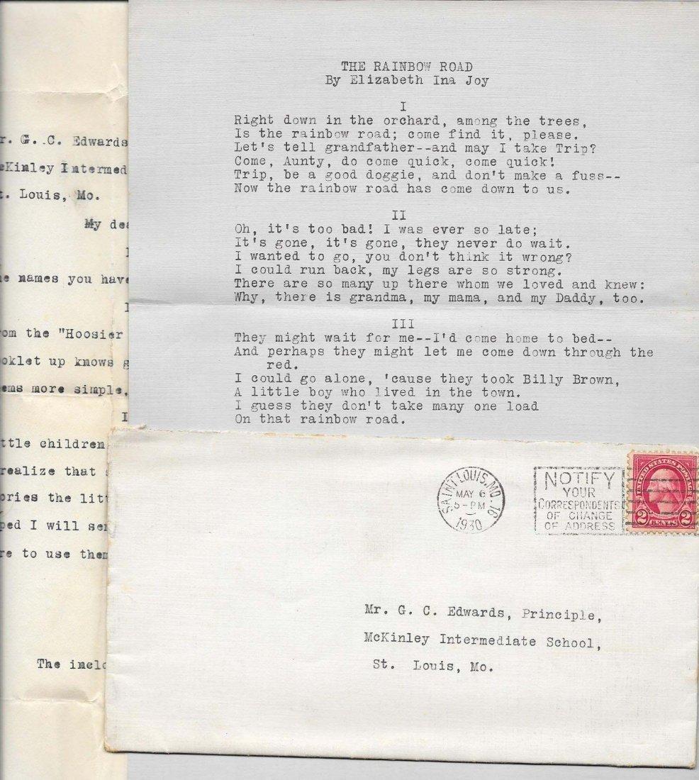 Elizabeth Ina Joy Letter And Poem
