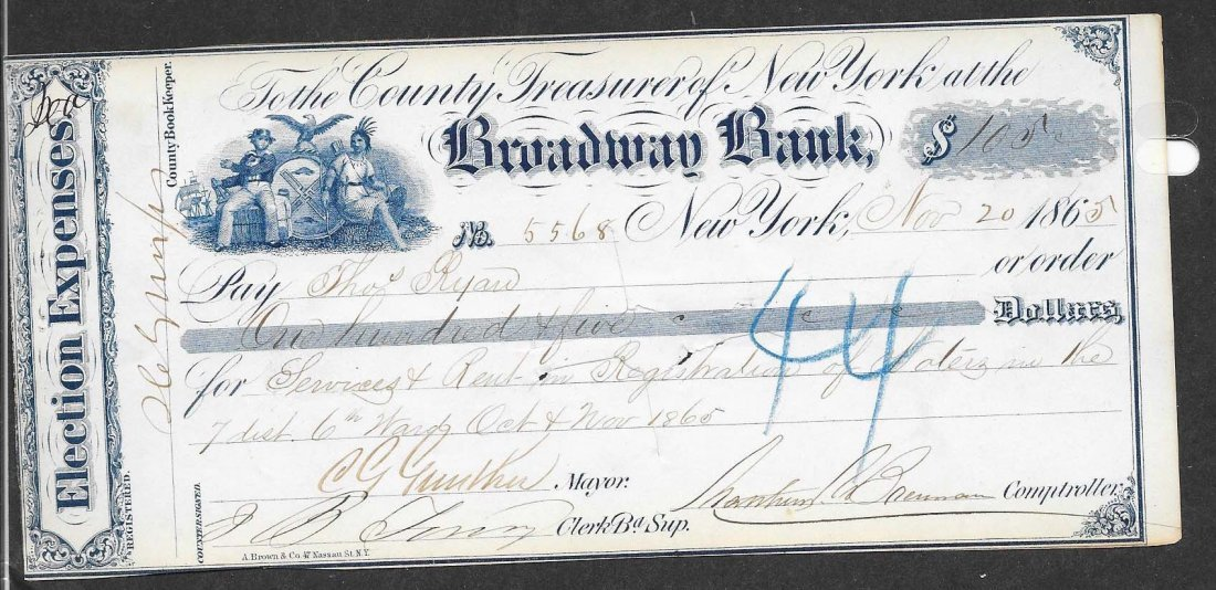 Charles Gunther Signed Check