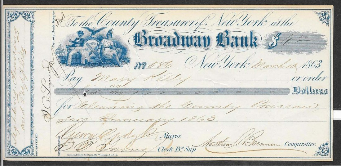 George Opdyke Signed Check