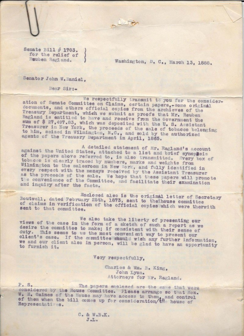 Original 19th Century Senate Bill Civil War Related