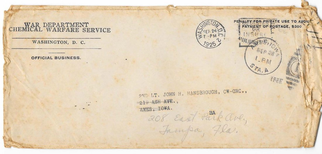 1925 Letter Cover Chemical Warfare
