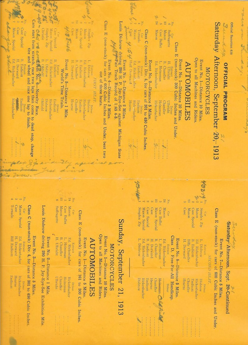 Rare 1913 Automobile And Motorcycle Race Program