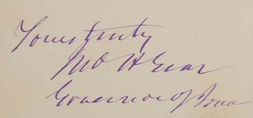 John H Gear Signature - Governor