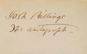 Josh Billings Signature - Humorist - Henry Wheeler Shaw