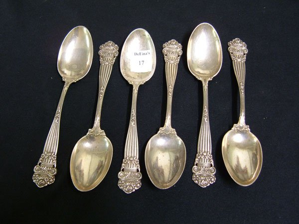 17: Towle Georgian pattern six sterling serving spoons.