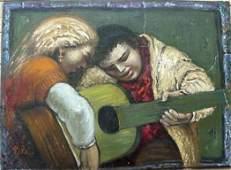 """232: Albert Pels- """"Guitarists""""- oil on canvas laid on p"""