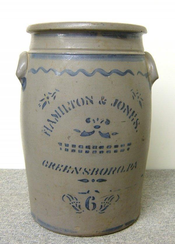 247: 6-gallon Hamilton & Jones butter churn. Stenciled