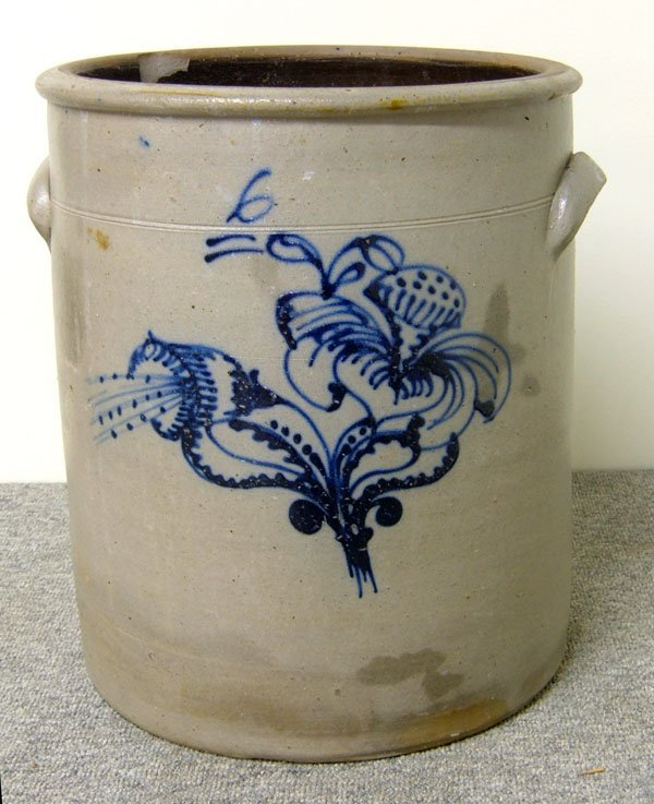 248: 6-gallon highly decorated handled crock. Intricate