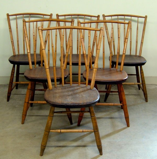 251: C 1800 bamboo Windsor chairs, plank bottoms. Older