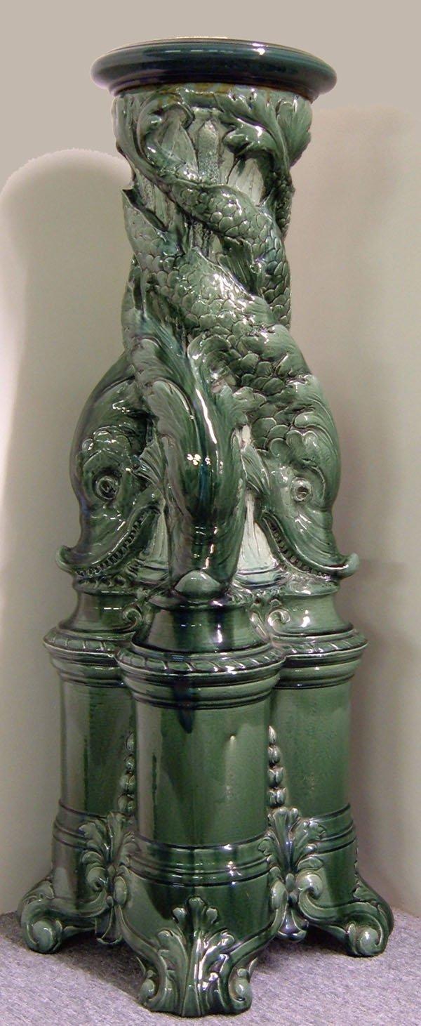 254: 1884 English majolica pedestal signed 1884. Shades