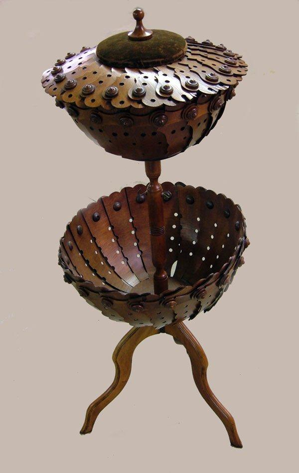 257: Vict. Folk Art sewing stand. Walnut, button interi