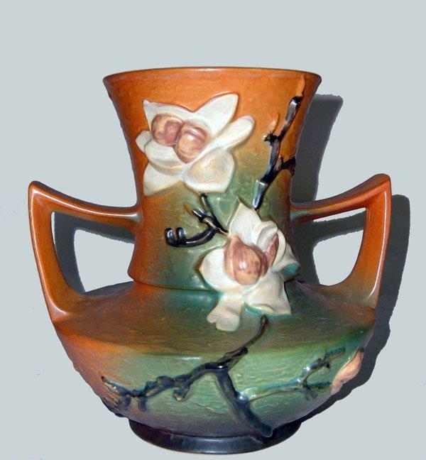 7: Roseville Brown Magnolia Vase  #93-9