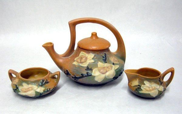 8: Roseville Brown Magnolia Teapot Creamer & Sugar Bowl